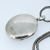 Antique Aesthetic Large Sterling Silver Locket with Long Curb Chain Necklace (9 of 11)