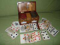 Unusual Oak Games Box - Bezique + Antique Cards + More (16 of 16)