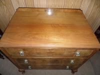 Nice 3 Drawer Oak Chest with Burr Walnut Facings (4 of 6)