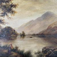 Antique Landscape Oil Painting of Scottish Loch (7 of 9)