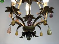 Vintage French Gilt Toleware & Murano Style Chandelier (11 of 13)
