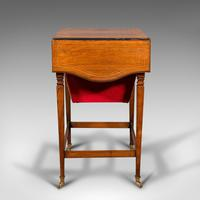 Antique Drop Leaf Sewing Table, English, Rosewood, Side, Lamp, Regency c.1820 (5 of 12)