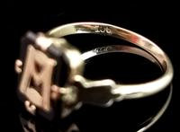 Antique Victorian Mourning Ring, Initial M, Onyx and 9ct Gold (8 of 10)
