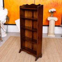 Carved Oak Open Bookcase Bookshelves (4 of 8)