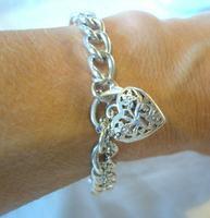 "Vintage Sterling Silver Bracelet 1976 Puffy Heart Padlock 6 1/2"" Length 21.8 Grams (11 of 12)"