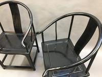 Pair Chinese ebonised horseshoe chairs (6 of 11)