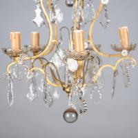 Lovely French Glass & Brass Five Arm Chandelier (7 of 7)