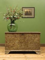 Large Antique Old Painted Green Distressed Pine Trunk Chest, Rustic Blanket Box (14 of 18)