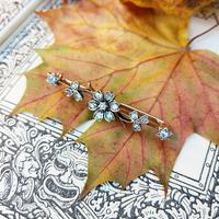 Victorian Diamond Floral Star Bar Brooch in 9ct Gold and Silver (4 of 7)