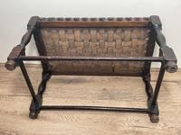 Art Deco Original English Handmade Oak & Leather Strapped Brass Studded Footstool (13 of 22)