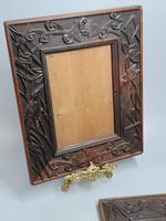 Fabulous Large Pair of Aesthetic Movement Oak Picture or Mirror Frames,Bats & Birds in Reeds c.1900 (5 of 8)