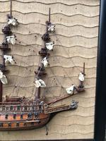 Unusual Half Block Model of Galleon in Ebonised Frame (6 of 9)