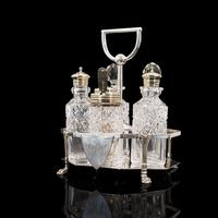 Antique Condiment Serving Set, English, Silver Plate, Table, Ashbury, Edwardian (8 of 12)