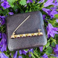 Antique 9ct Yellow Gold Six Amethyst Bar Brooch, Victorian Edwardian 9K Pin (2 of 8)