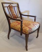 Edwardian Inlaid Rosewood Nursing or Bedroom Armchair (2 of 5)