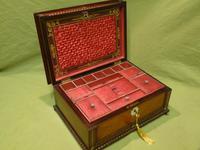 QUALITY Inlaid Rosewood & Amboyna Jewellery – Work Box. c1840 (9 of 16)