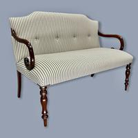 Buttoned Ticking Stripe Sofa & Footstool (9 of 11)