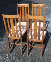 1930s Set 4 0ak Highback Dining Chairs with Pop Out Seats (4 of 4)