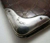 Magnificent Victorian Solid Sterling Silver Mounted Crocodile Skin Leather Antique Wallet Purse Card Stamp Case 1901 (9 of 10)