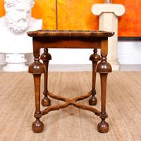 Walnut Side Table Continental Queen Anne Carved Lamp Table (6 of 12)