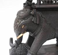 Carved Burmese Elephant Statue Antique Burma c.1890 (6 of 8)