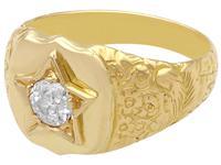 0.45ct Diamond & 18ct Yellow Gold Signet Ring - Antique c.1900 (3 of 9)