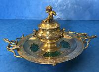 Victorian Gilt Brass Malachite Stationary Desk Set (10 of 17)