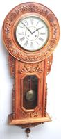 Massive Rare Antique Carved Walnut 8-Day Drop Dial Striking Wall Clock (5 of 14)
