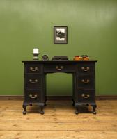 Antique Black Painted Writing Desk, Gothic Shabby Chic