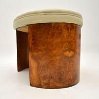 Art Deco Burr Walnut & Leather Stool (7 of 8)
