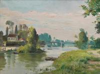 Original 1902 Antique French Riverscape Landscape Oil on Canvas Painting (2 of 13)