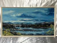 20th Century Oil Painting Wales Menai Bridge Church Straits Snowdonia Mountains (21 of 27)