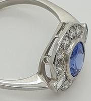 Tanzanite Diamond Art Deco Style Cluster Ring (3 of 6)
