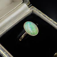 Antique Colourful Natural Opal Oval Solitaire 9ct 9K Gold Ring (2 of 9)