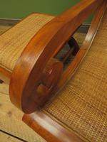 Vintage British Colonial Style Teak & Cane Plantation Chair & Footstool (6 of 17)