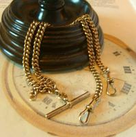 Antique Pocket Watch Chain 1890s Victorian 18ct Rose Rolled Gold Albert With T Bar (5 of 12)