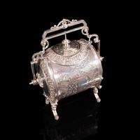 Antique Engraved Biscuit Barrel, Silver Plate, Decorative Jar, Victorian c.1860 (7 of 12)