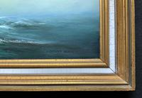 Large Beautiful Mid-Century Full-Masted Ship in Rough Seas Seascape Oil Painting (11 of 12)