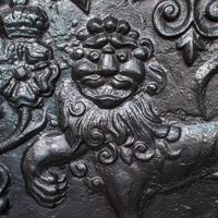 Antique Fire Back, English, Cast Iron, Decorative, Fireplace, Victorian c.1900 (5 of 12)