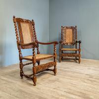 Near Pair of Walnut Twist Armchairs