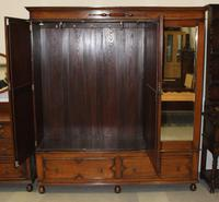1920's Large Oak Mirrored 3 Door Wardrobe with Slides (6 of 6)