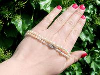 Single Strand Natural Pearl Necklace with 0.30ct Diamond Set Clasp c.1930 (2 of 12)