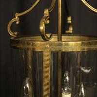 French Convex Gilded Brass Triple Light Antique Hall Lantern (6 of 10)