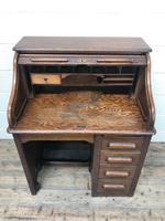 Antique Early 20th Century Oak Roll Top Desk (8 of 13)