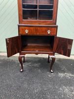 Antique Slim Figured Walnut Bookcase (9 of 12)