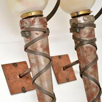 Pair of Art Deco Steel, Copper & Glass Wall Sconce Lamps (4 of 7)