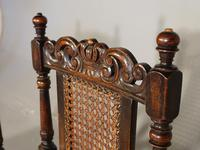 Well Carved Set of 5 '4+1' Carolean Style Oak Chairs c.1910 (8 of 9)
