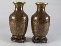 Vintage Pair of Small Cloisonné Vases with Stands (2 of 4)