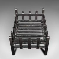 Antique Fire Basket, English, Cast Iron. Fireside, Grate, Late Victorian c.1900 (8 of 10)