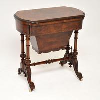 Antique Victorian Burr Walnut Games & Work Table (3 of 14)